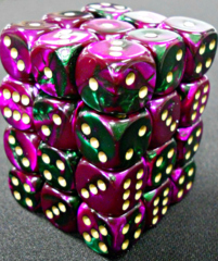 36 Green-Purple/gold Gemini 12mm D6 Dice Block