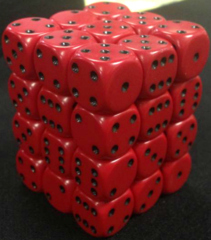 36 Red w/black Opaque 12mm D6 Dice Block