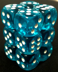12 Teal w/white Translucent 16mm D6 Dice Block - CHX23615