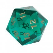 Koplow 55 mm Jumbo D20 Transparent Green w/ Gold