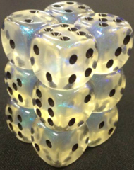 12 Aquerple /black Borealis 16mm D6 Dice Block - CHXLE674
