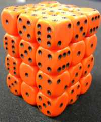 36 Orange w/black Opaque 12mm D6 Dice Block - CHX25803