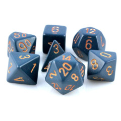Opaque Dusty Blue w/gold 7pc dice Set