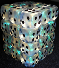 36 Aquerple / Black Borealis 12mm D6 Dice Block - CHX27820