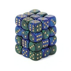 36 Blue- Green w/ Gold Gemini 12mm D6 Dice Block