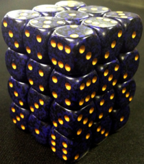 36 Golden Cobalt Speckled 12mm D6 Dice Block - CHX25937