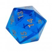 Koplow 55 mm Jumbo D20 Transparent Blue w/ Gold