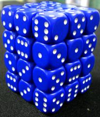 36 Blue w/white Opaque 12mm D6 Dice Block - CHX25806