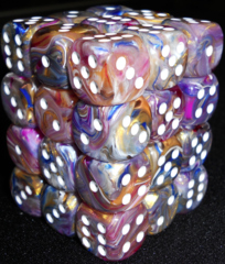 36 Carousel w/white festive 12mm D6 Dice Block