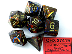 Scarab Blue Blood / Gold 7 Dice Set