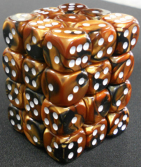 36 Black-Copper w/white Gemini 12mm D6 Dice Block - CHX26827