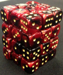 36 Black-Red w/Gold Gemini 12mm D6 Dice Block