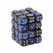 36 Black- Blue w/ Gold Gemini 12mm D6 Dice Block