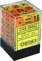 36 Orange- Yellow w/ Black Gemini 12mm D6 Dice Block