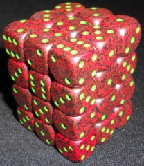 36 Strawberry Speckled 12mm D6 dice Block