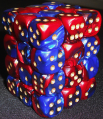 36 Blue-red w/gold Gemini 12mm D6 Dice Block - CHX26829