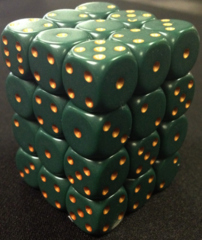 36 Dusty Green /copper Opaque 12mm D6 Dice Block - CHX25815