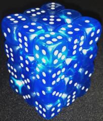 36 Bright Blue w/Silver Velvet 12mm D6 Dice Block