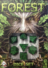 Black Green Forest 7 pc Dice Set