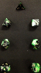 Gemini Black-Green / Gold 7 Dice Set - CHX26439