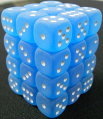 36 Blue /white Frosted 12mm D6 Dice Block - CHX27806