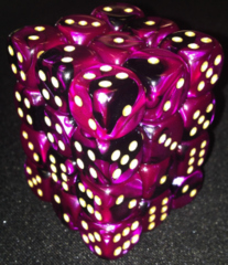 36 Black-Purple w/Gold Gemini 12mm D6 Dice Block