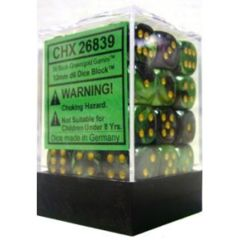 36 Black- Green w/ Gold Gemini 12mm D6 Dice Block