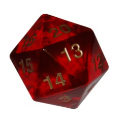 Koplow 55 mm Jumbo D20 Transparent Red w/ Gold
