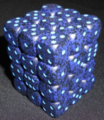 36 Cobalt Speckled 12mm D6 Dice Block