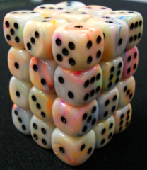 36 Circus w/black Festive 12mm D6 Dice Block - CHX27842