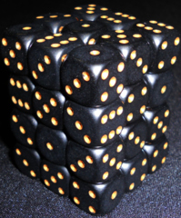 36 Black w/gold Opaque 12mm D6 Dice Block