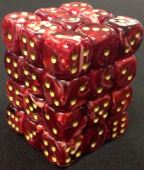 36 Burgundy / Gold Vortex Dice 12mm D6 Dice Block - CHX27834