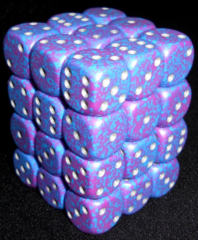 36 Silver Tetra Speckled 12mm D6 Dice Block - CHX25947
