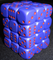 36 Purple w/red Opaque 12mm D6 Dice Block
