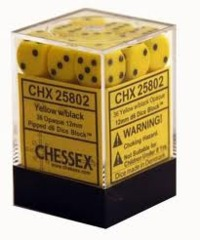 36 Yellow w/ Black Opaque 12mm D6 Dice Block