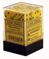 36 Yellow w/ Black Opaque 12mm D6 Dice Block