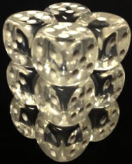 Translucent 12 Clear w/White 16mm D6 Dice Block