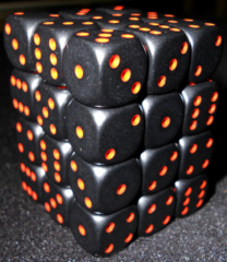 36 Black w/red Opaque 12mm D6 Dice Block - CHX25818