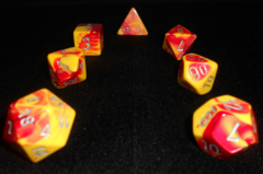 Red-Yellow /silver Gemini 7 Dice Set