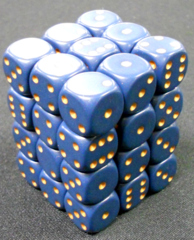 36 Dusty Blue w/gold opaque 12mm D6 Dice Block