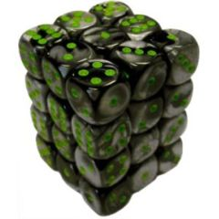 36 Black- Grey w/ Green Gemini 12mm D6 Dice Block