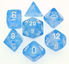 Sky Blue w/ White Borealis 7 Dice Set