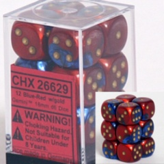 12 Blue-Red w/ Gold Gemini 16mm D6 Dice Block