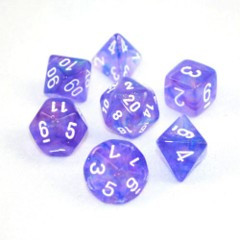 Purple w/ White Borealis 7 Dice Set