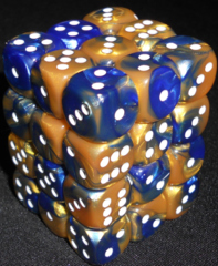 36 Blue-Gold w/White Gemini 12mm D6 Dice Block