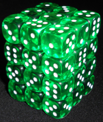 36 Green w/white Translucent 12mm D6 Dice Block