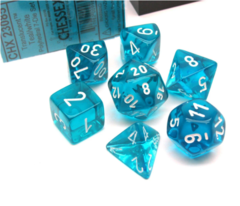 Teal w/White Translucent Poly Set (7)