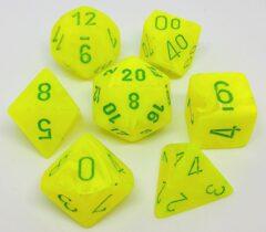 Polyhedral 7-Die Set: Menagerie #8 Electric Yellow/Green Vortex - CHX27422