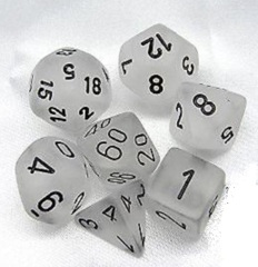 7 Clear w/Black Frosted Polyhedral Dice Set - CHX27401