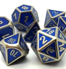 Old School RPG Dice Set: Elven Forged - Blue w/ Gold
